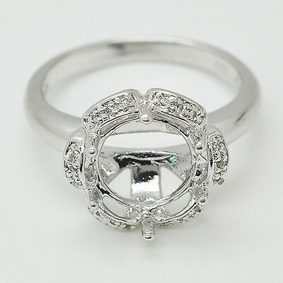 10.0mm Round Cut 14K White Gold Natural Diamond Party Semi Mount Ring
