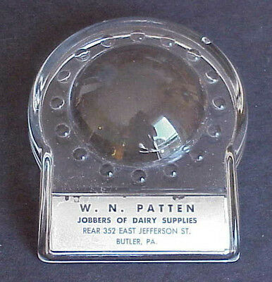 Butler Pa Vintage WN PATTEN  JOBBERS OF DAIRY SUPPLIES Glass MAGNIFIER Enlarger