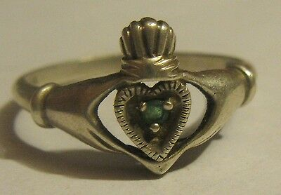 Sterling Silver Emerald Claddagh Hand Heart Crown Ring Size 11