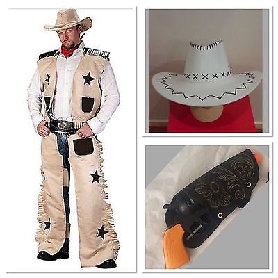 Men's Cowboy Dress Up Set Costume Outfit And Hat Gun Wild West Sheriff Party