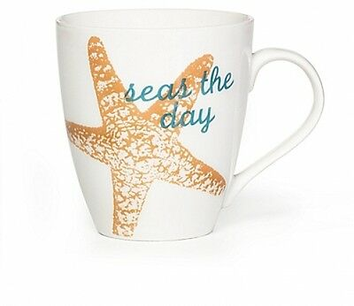 Seas the Day Mug Popular Phrase Porcelain Microwave Safe Yellow Starfish Each