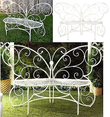 Romantic ** WHITE IRON BUTTERFLY LOVE SEAT BENCH ** MAX WEIGHT 440 LBS ** NIB