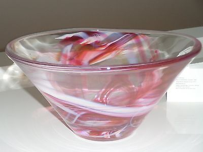 Kosta Boda Pink/Clear Glass Bowl with  Swirly Pattern by Anna Ehrner