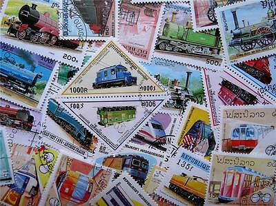 100 Thematic Trains/Rail Travel Stamps Mainly CTO/Mint Unmounted Singles & Sets