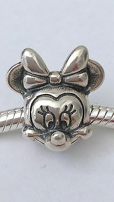 S925 Sterling Silver Minnie Mouse Portrait Charm + Pandora PolishIng Cloth
