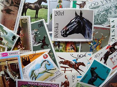 100 Thematic Horses Stamps Mainly CTO/Mint Unmounted Singles & Sets