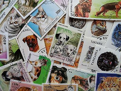 100 Thematic Cats & Dogs Stamps Mainly CTO/Mint Unmounted Singles & Sets