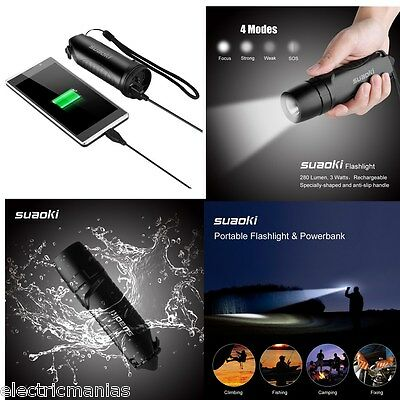 Portable Outdoor LED Flashlight Torch Light Lamp Rechargeable 5200mAh Power Bank