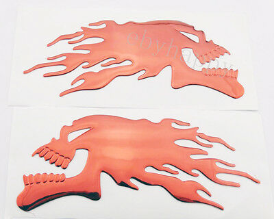 1Pair 3D Flame Sticker For Harley Davidson Emblem Decal Tank Fairing Badge Motor