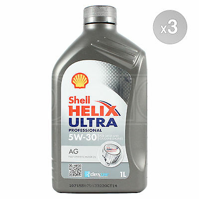 Shell Helix Ultra Professional AG 5w-30 Fully Synthetic Engine Oil 3 x 1 Litres