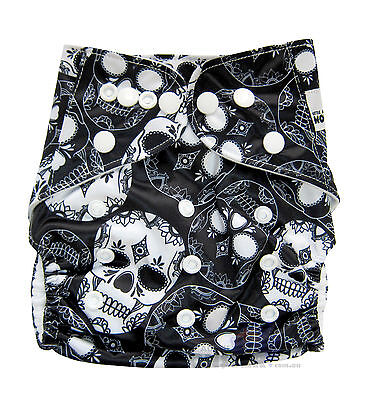 MODERN CLOTH NAPPIES REUSABLE ADJUSTABLE DIAPERS, Black and White Skulls SHELL