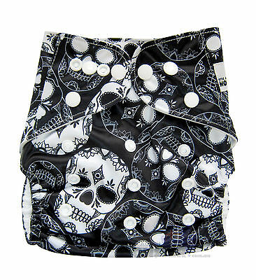 MODERN CLOTH NAPPIES REUSABLE ADJUSTABLE DIAPERS, Black and White Skulls