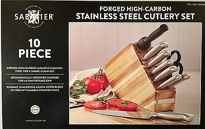 New Sabatier 10 Piece Stainless Steel Cutlery Knife Set With Acacia Wood Block