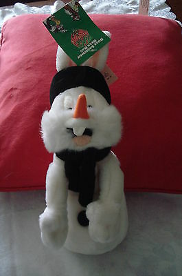 """BUGS BUNNY SNOWMAN 1998 Collectable Magazine Tag 10"""" Toy Beanie Easter Birthday"""