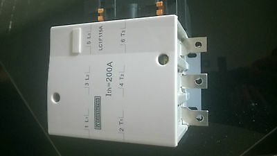 tc contactor, 200amp 3 pole , with add on block and contact shields, new in box