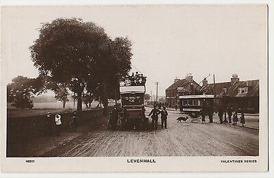 Levenhall Postcard With Open Topped Double Deck Bus And Tram. Rppc