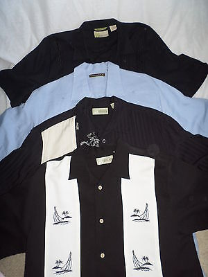 Lot of 4 CUBAVERA Size M Short Sleeve Front Button Men's Casual Shirts