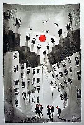 Colourful  town #2555 original Watercolour   painting by jndox  size A4