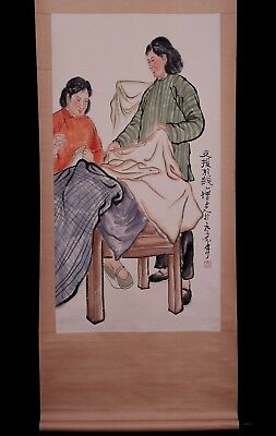 Great Chinese Figures Paper Wall Hanging Scroll Painting Marks PP465