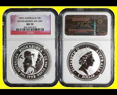 1993  Australia 1 oz silver  Kookaburra PERFECT NGC MS 70 NEW NO SPOTS