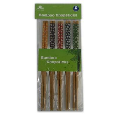 Bamboo Chopsticks 5 Pairs - Reusable Long Japanese Chinese Traditional Painted