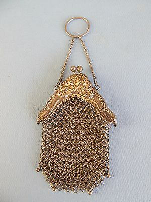 Antique Chatelaine Mesh Coin Purse with STERLING Silver Floral Design Frame