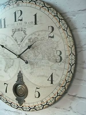 EXTRA LARGE VINTAGE STYLE WALL CLOCK SHABBY CHIC Antique cream