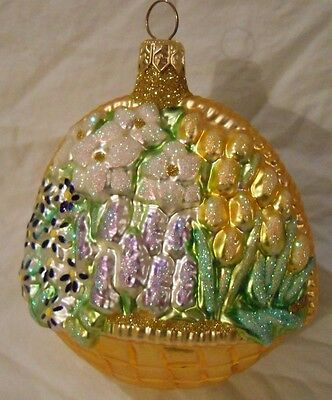 """PATRICIA BREEN CHRISTMAS ORNAMENT LARGE SPRING FLOWER BASKET 4.5""""x4"""""""