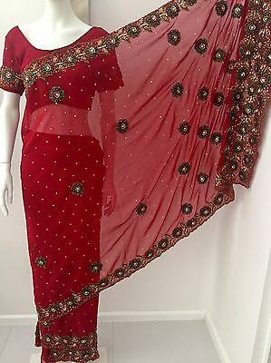 New Ladies Indian Saree Sari Red Gold Green UK size 12 Heavy Embroidery