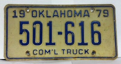 1979 OKLAHOMA Commercial Truck License Plate (501-616)