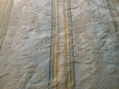 Antique French Damask Cotton Fabric ~ Faded Grandeur Floral Scroll ~ Gray Blue