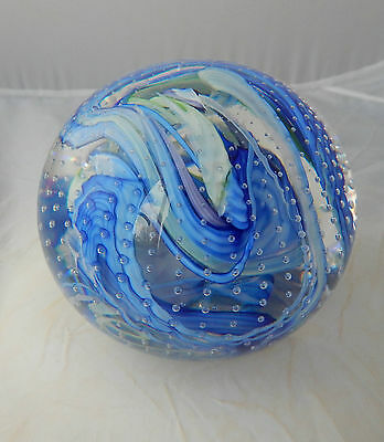 Vintage Whitefriars Streaky Bubbled Sky Blue & Green Paperweight - 9851