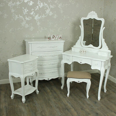 White Wooden Bedroom Set Dressing Table Mirror Stool Drawers Bedside French Chic