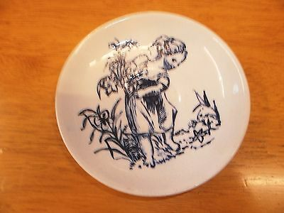 Blue and white japanese /chinese T saucer 4 inch diameter