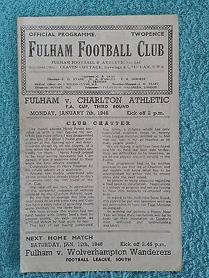 1945 - FULHAM v CHARLTON ATHLETIC PROGRAMME - FA CUP 3RD ROUND