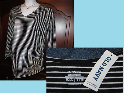 NEW XXL MATERNITY Old Navy Long Sleeve Top Tee Side Ruched V-Neck Plus Size NWT