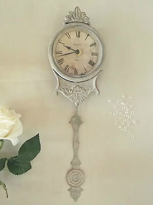 SECONDS Shabby Chic PENDULUM WALL CLOCK French Grey Antique Vintage Style Paris