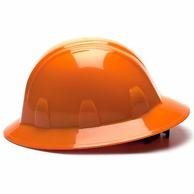 Pyramex Full Brim Hard Hat with 4 Point Ratchet Suspension, Orange