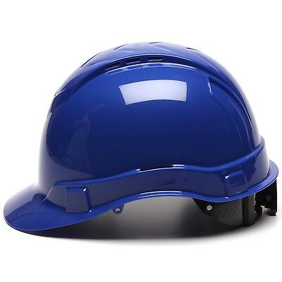 Pyramex Hard Hat Blue Vented Cap Style with 4 Point Ratchet Suspension