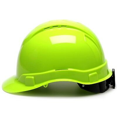 Pyramex Vented Cap Style Hard Hat with 4 Point Ratchet Suspension, Hi-Vis Green