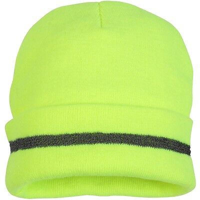 Pyramex Hi-Vis Beanie Cap with Reflective Strip, Yellow