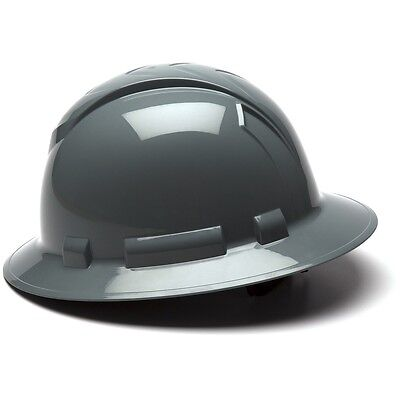 Pyramex Full Brim Hard Hat with 4 Point Ratchet Suspension, Gray