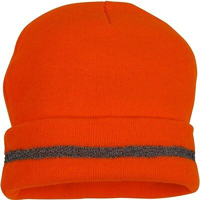 Pyramex Hi-Vis Beanie Cap with Reflective Strip, Orange