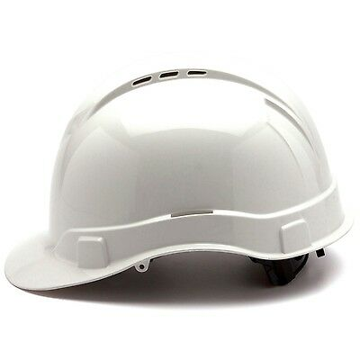 Pyramex Vented Cap Style Hard Hat with 4 Point Ratchet Suspension, White