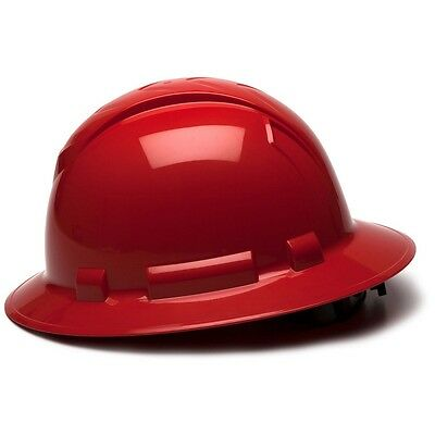 Pyramex Hard Hat Full Brim Red with 4 Point Ratchet Suspension