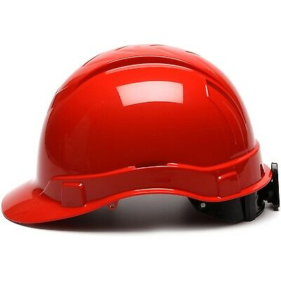Pyramex Hard Hat Cap Style Red with 6 Point Ratchet Suspension