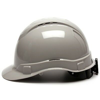 Pyramex Hard Hat Vented Cap Style with 4 Point Ratchet Suspension, Gray