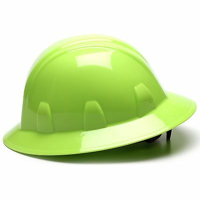 Pyramex Full Brim Hard Hat with 4 Point Ratchet Suspension, Green