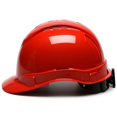 Pyramex Hard Hat Vented Cap Style With 4 Point Ratchet Suspension, Red