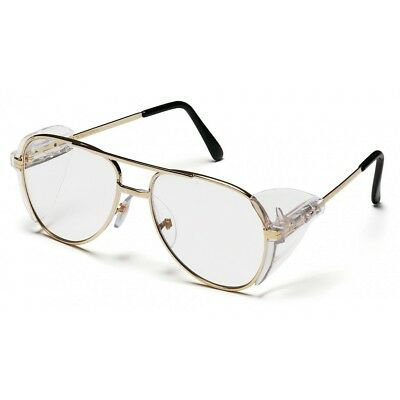 Pyramex Safety Glasses with Side Shields, Clear Lens and Gold Metal Frame